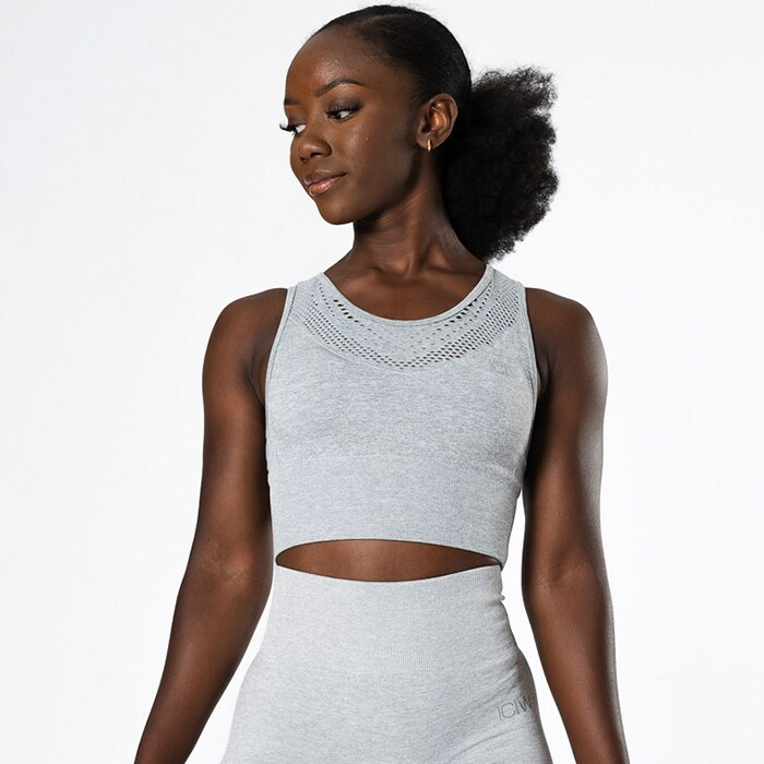 Queen Mesh Seamless Crop Top, Light Grey Melange