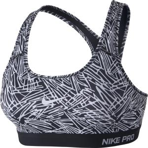 Nike Pro Clsc Pad Palm Prt Bra, Black/White/Black/White, Xs, Nike