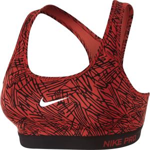 Nike Pro Clsc Pad Palm Prt Bra, Lt Crimson/Black/Black/White, Xs, Nike